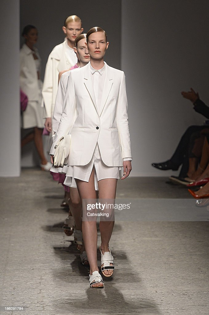 Models walk the runway at the Ports 1961 Spring Summer 2014 fashion show during Milan Fashion Week on September 19, 2013 in Milan, Italy.