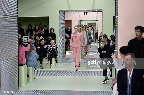 Models walk the runway at the Prada Autumn Winter 2015 fashion show during Milan Fashion Week on February 26 2015 in Milan Italy