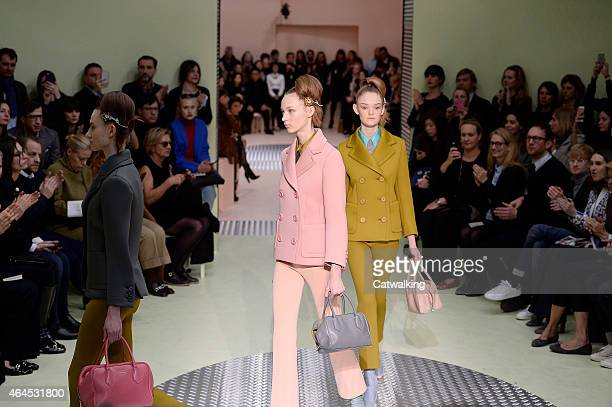 Models walk the runway at the Prada Autumn Winter 2015 fashion show during Milan Fashion Week on February 26 2015 in Milan Italy