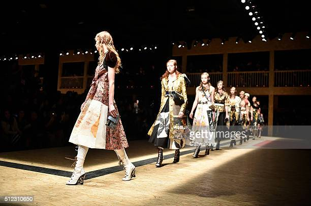 Models walk the runway at the Prada Autumn Winter 2016 fashion show during Milan Fashion Week on February 25 2016 in Milan Italy