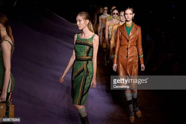 Models walk the runway at the Prada Spring Summer 2015 fashion show during Milan Fashion Week on September 18 2014 in Milan Italy
