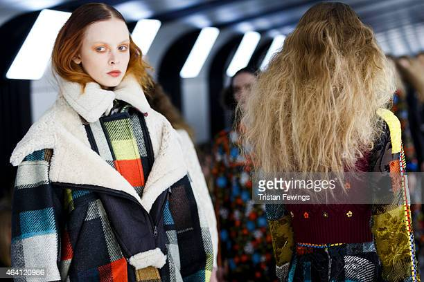 Models walk the runway at the Preen by Thornton Bregazzi show during London Fashion Week Fall/Winter 2015/16 at 1 Pancras Square on February 22 2015...