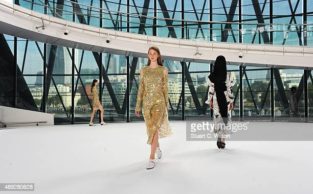Models walk the runway at the Preen by Thornton Bregazzi show during London Fashion Week Spring/Summer 2016/17 on September 20 2015 in London England