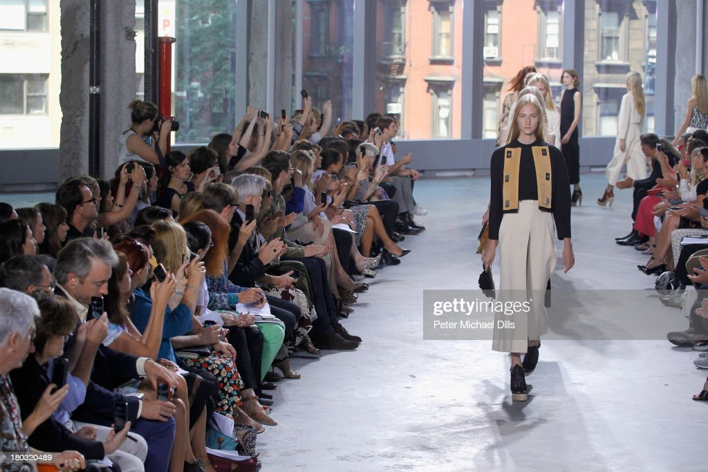 Models walk the runway at the Proenza Schouler fashion show during Mercedes-Benz Fashion Week Spring 2014 at Skylight Ltd on September 11, 2013 in New York City.