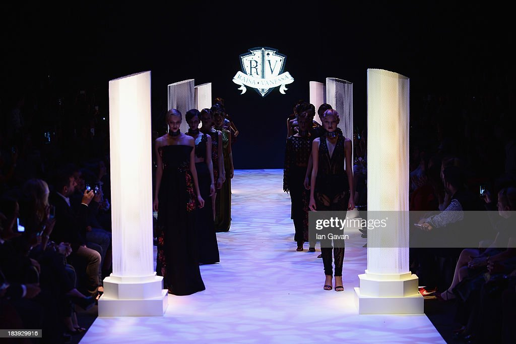 Models walk the runway at the Raisa-Vanessa Sason show during Mercedes-Benz Fashion Week Istanbul s/s 2014 Presented By American Express on October 10, 2013 in Istanbul, Turkey.