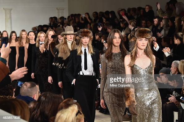 Models walk the runway at the Ralph Lauren fashion show during MercedesBenz Fashion Week Fall 2015 at Skylight Clarkson SQ on February 19 2015 in New...
