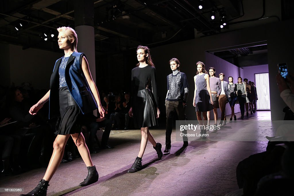 Models walk the runway at the Rebecca Taylor fall 2013 fashion show during Mercedes-Benz Fashion Week at Highline Stages on February 9, 2013 in New York City.