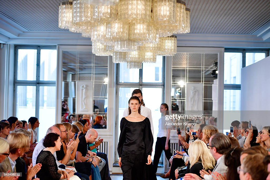 Models walk the runway at the Rene Storck show during the Mercedes-Benz Fashion Week Berlin Spring/Summer 2017 at Kronprinzenpalais on June 28, 2016 in Berlin, Germany.