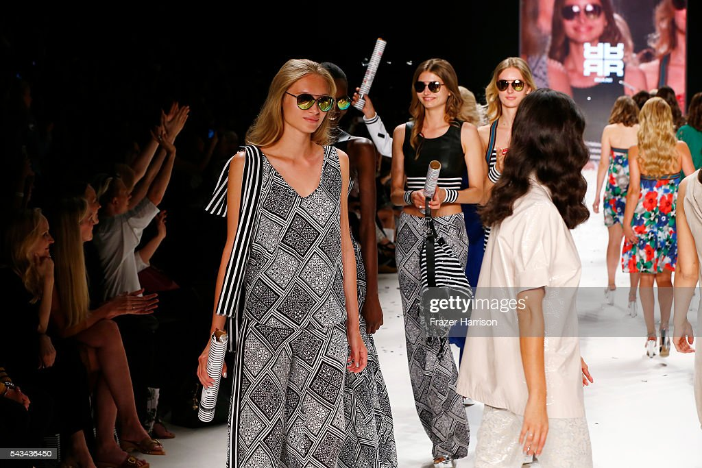 Models walk the runway at the Riani show during the Mercedes-Benz Fashion Week Berlin Spring/Summer 2017 at Erika Hess Eisstadion on June 28, 2016 in Berlin, Germany.