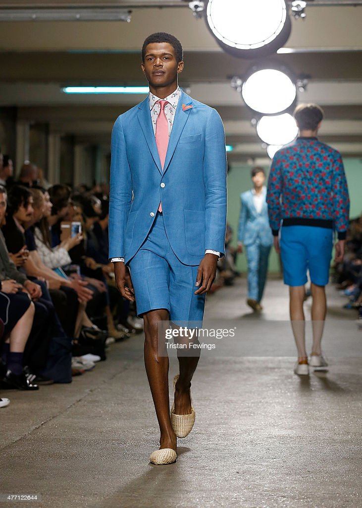 Models walk the runway at the Richard James show during The London Collections Men SS16 at the ICA car park on June 14 2015 in London England