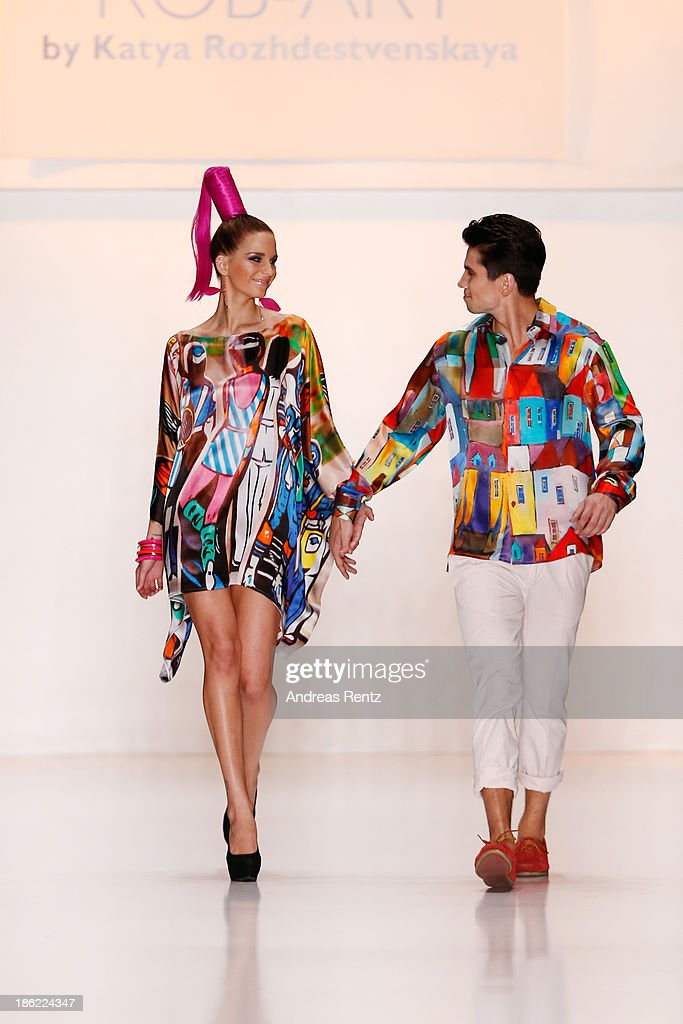 Models walk the runway at the ROB-ART by Katya Rozhdestvenskaya show during Mercedes-Benz Fashion Week Russia S/S 2014 on October 29, 2013 in Moscow, Russia.