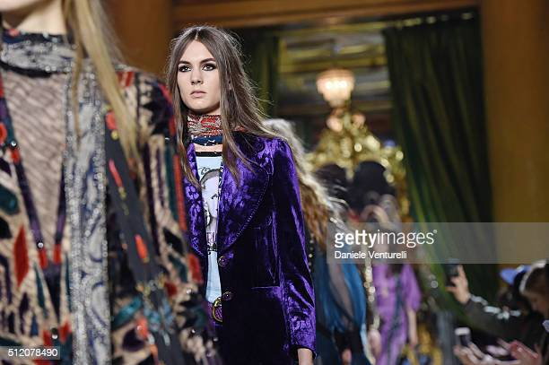 Models walk the runway at the Roberto Cavalli show during Milan Fashion Week Fall/Winter 2016/17 on February 24 2016 in Milan Italy