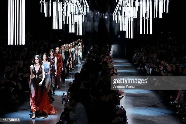 Models walk the runway at the Roberto Cavalli show during the Milan Fashion Week Autumn/Winter 2015 on February 28 2015 in Milan Italy