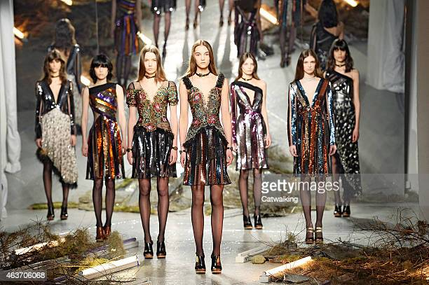 Models walk the runway at the Rodarte Autumn Winter 2015 fashion show during New York Fashion Week on February 17 2015 in New York United States