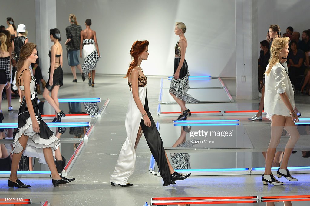Models walk the runway at the Rodarte fashion show during Mercedes-Benz Fashion Week Spring 2014 on September 10, 2013 in New York City.