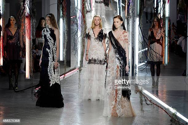 Models walk the runway at the Rodarte Spring Summer 2016 fashion show during New York Fashion Week on September 15 2015 in New York United States