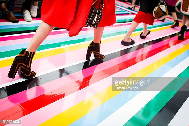 Models walk the runway at the Salvatore Ferragamo fashion show during Milan Fashion Week Fall/Winter 2016/17 on February 28 2016 in Milan Italy
