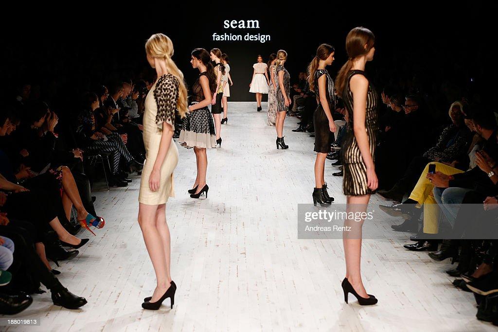 Models walk the runway at the Seam show during Mercedes-Benz Fashion Days Zurich 2013 on November 14, 2013 in Zurich, Switzerland.