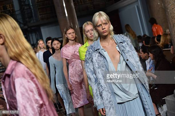 Models walk the runway at the Sies Marjan fashion show during New York Fashion Week September 2016 on September 11 2016 in New York City