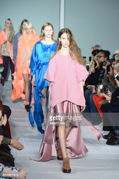 Models walk the runway at the Sies Marjan fashion show during New York Fashion Week on February 12 2017 in New York City