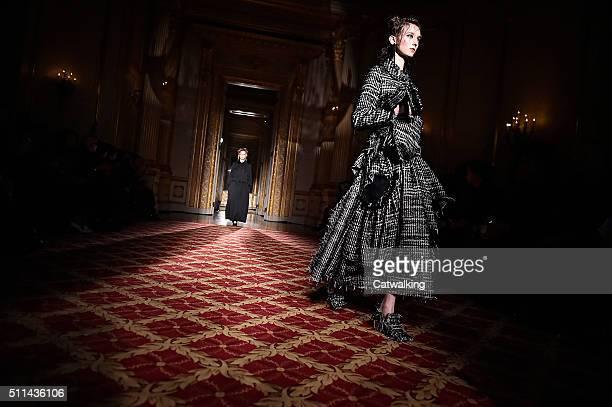 Models walk the runway at the Simone Rocha Autumn Winter 2016 fashion show during London Fashion Week on February 20 2016 in London United Kingdom