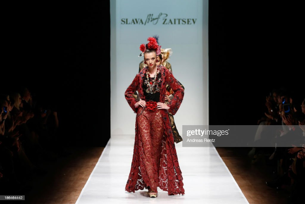 Models walk the runway at the SLAVA ZAITSEV Haute Couture show during Mercedes-Benz Fashion Week Russia S/S 2014 on October 31, 2013 in Moscow, Russia.