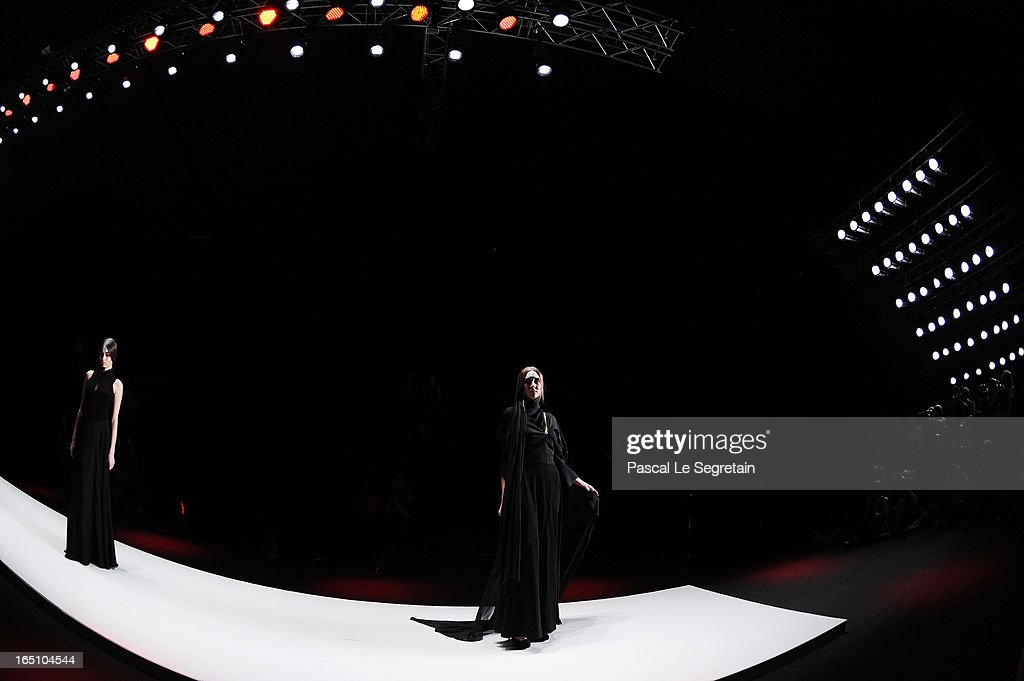 Models walk the runway at the Slava Zaitsev show during Mercedes-Benz Fashion Week Russia Fall/Winter 2013/2014 at Manege on March 30, 2013 in Moscow, Russia.