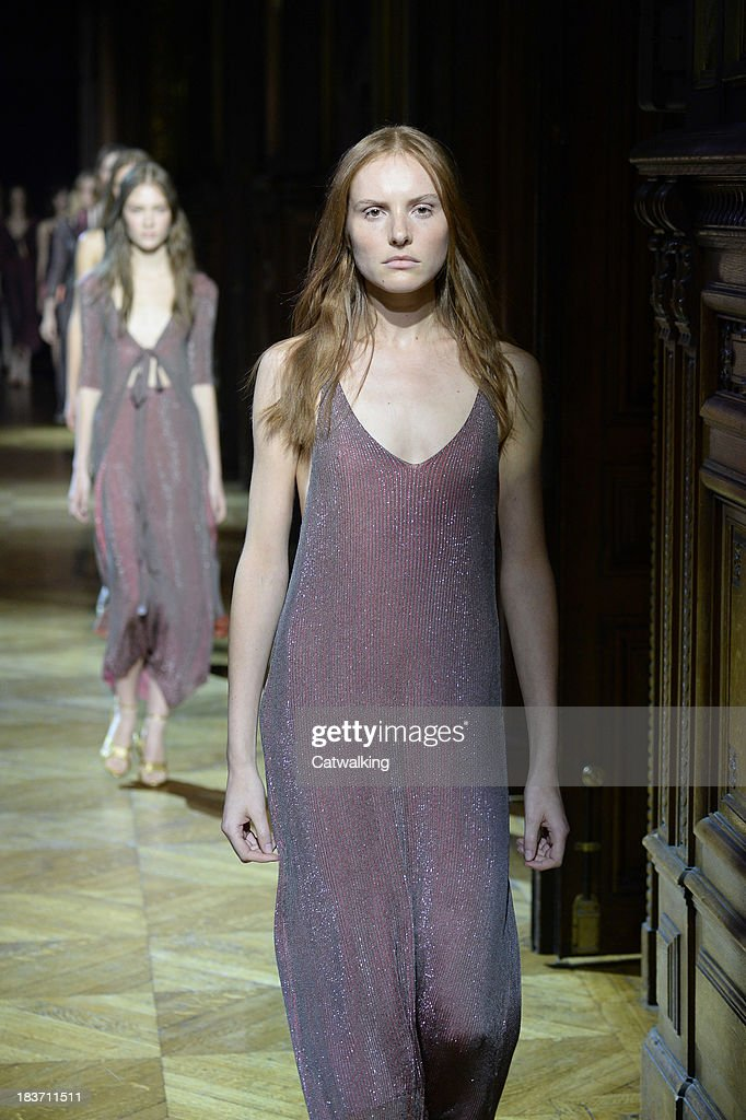 Models walk the runway at the Sonia Rykiel Spring Summer 2014 fashion show during Paris Fashion Week on September 27, 2013 in Paris, France.