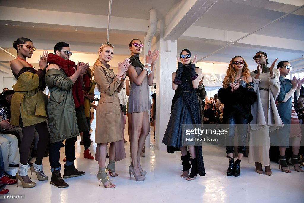 Models walk the runway at the Stevie Boi Fall 2016 fashion show during New York Fashion Week at Studio 450 on February 13, 2016 in New York City.