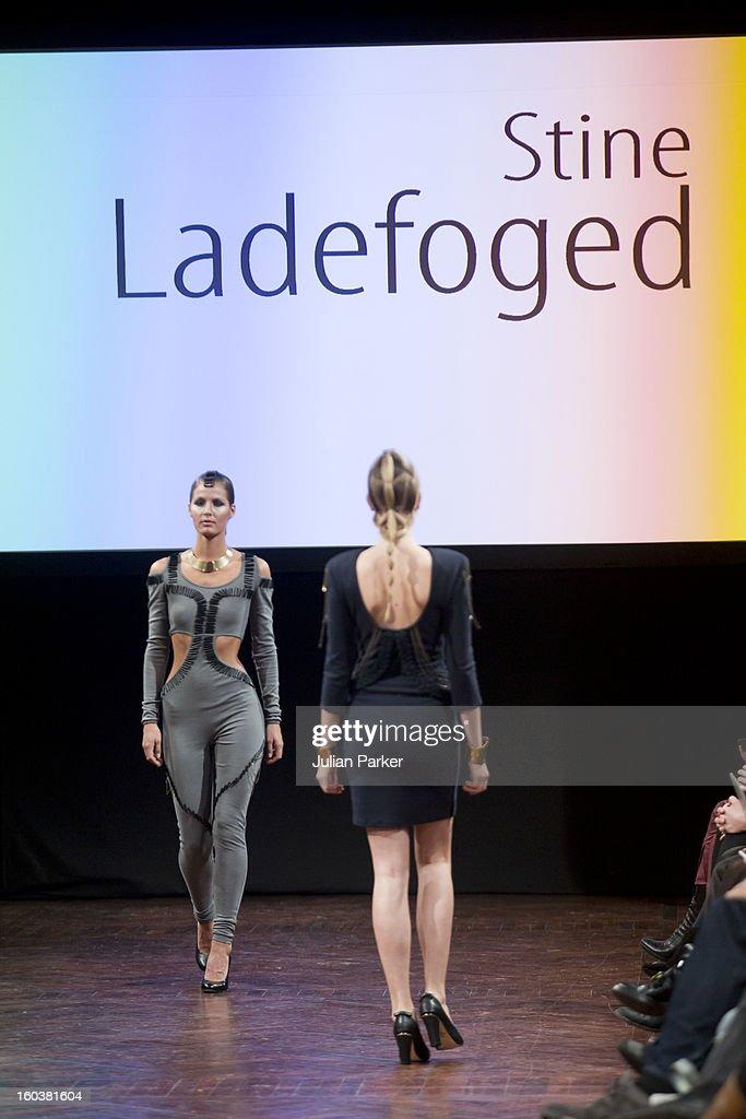 Models walk the runway at the Stine Ladefoged show during Day 1 of Copenhagen Fashion Week Autumn/Winter 2013 on January 30, 2013 in Copenhagen, Denmark.