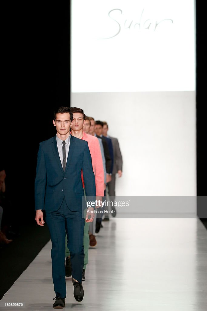 Models walk the runway at the 'Sudar' PLC, TM 'VENZANO'. Styled By 'Leonid Alexeev' show during the Mercedes-Benz Fashion Week Russia S/S 2014 on October 25, 2013 in Moscow, Russia.
