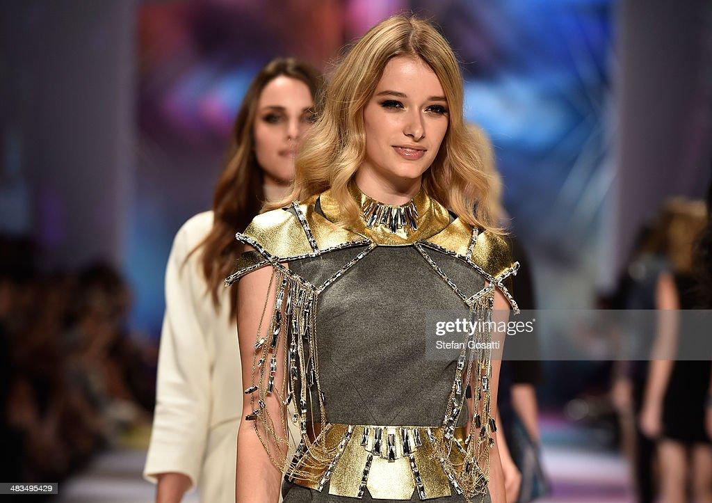 Models walk the runway at the Swarovski show during MercedesBenz Fashion Week Australia 2014 at Carriageworks on April 9 2014 in Sydney Australia