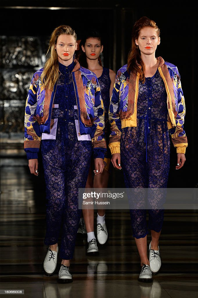 Models walk the runway at the Tabernacle Twins show during at the Fashion Scout venue during London Fashion Week SS14 at Freemasons Hall on September 16, 2013 in London, England.