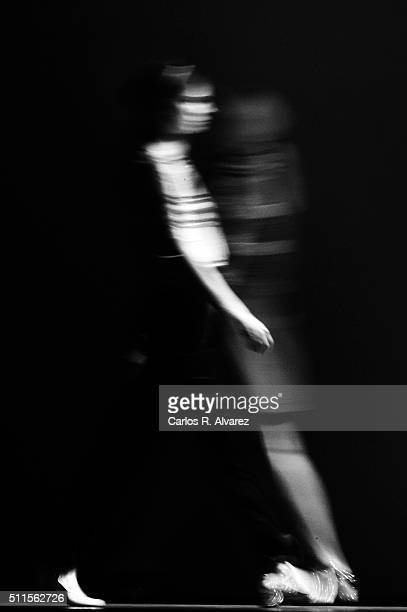 Models walk the runway at the Teresa Helbig show during the MercedesBenz Madrid Fashion Week Autumn/Winter 2016/2017 at Ifema on February 21 2016 in...