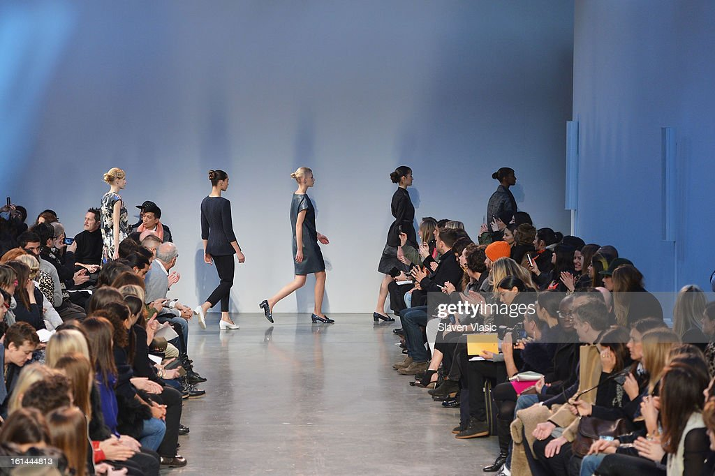 Models walk the runway at the Thakoon fall 2013 fashion show during Mercedes-Benz Fashion Week at the Dia Art Foundation on February 10, 2013 in New York City.