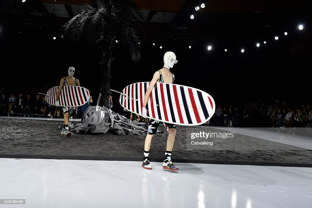Models walk the runway at the Thom Browne Spring Summer 2017 fashion show during Paris Menswear Fashion Week on June 26, 2016 in Paris, France.