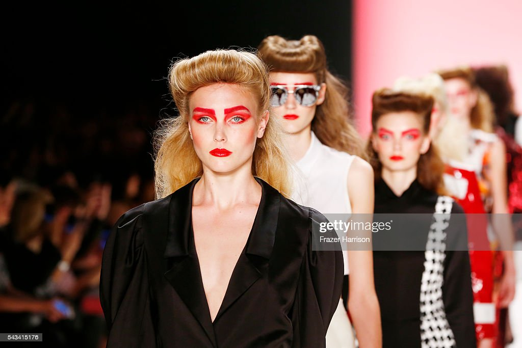 Models walk the runway at the Thomas Hanisch show during the Mercedes-Benz Fashion Week Berlin Spring/Summer 2017 at Erika Hess Eisstadion on June 28, 2016 in Berlin, Germany.