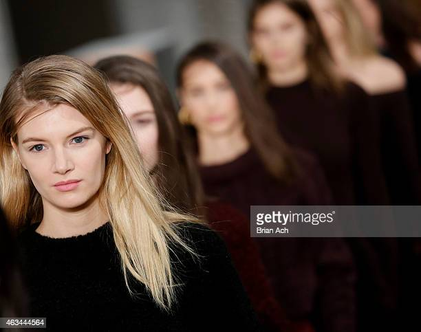 Models walk the runway at the Tibi show during MercedesBenz Fashion Week Fall 2015 at The Waterfront on February 14 2015 in New York City