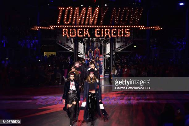 Models walk the runway at the Tommy Hilfiger show during London Fashion Week September 2017 on September 19 2017 in London England