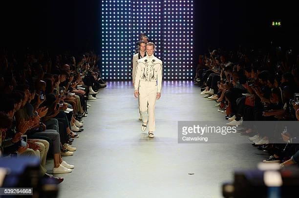 ModelS walk the runway at the Topman Design SS 2017 fashion show during London Menswear Fashion Week on June 10 2016 in London United Kingdom