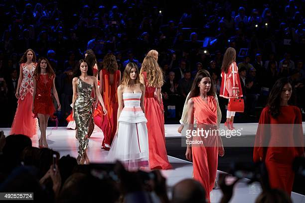 A models walk the runway at the Valentin Yudashkin show during Moscow Fashion Week at Gostiny Dvor on October 13 2015 in Moscow Russia