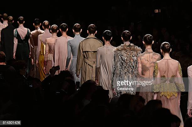 Models walk the runway at the Valentino Autumn Winter 2016 fashion show during Paris Fashion Week on March 8 2016 in Paris France