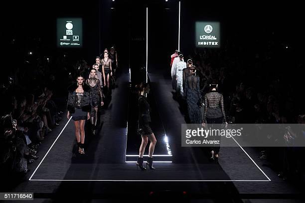 Models walk the runway at the Varela show during the MercedesBenz Madrid Fashion Week Autumn/Winter 2016/2017 at Ifema on February 22 2016 in Madrid...