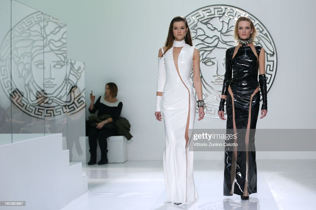 Models walk the runway at the Versace fashion show during Milan Fashion Week Womenswear Fall/Winter 2013/14 on February 22, 2013 in Milan, Italy.