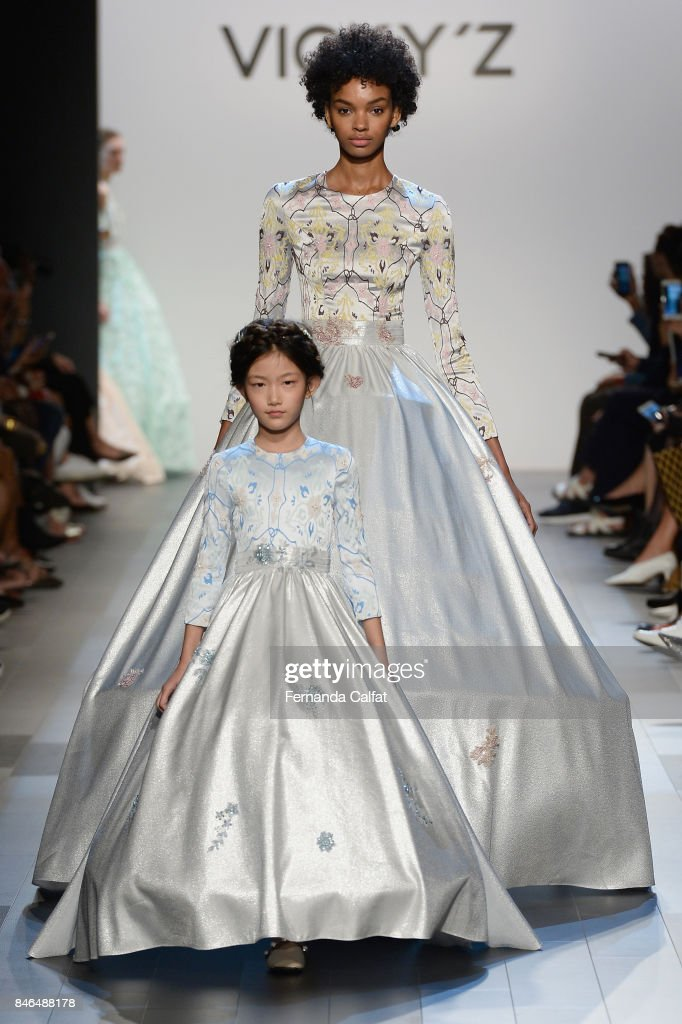 Models walk the runway at the Vicky Zhang fashion show during New York Fashion Week: The Shows at Gallery 1, Skylight Clarkson Sq on September 13, 2017 in New York City.