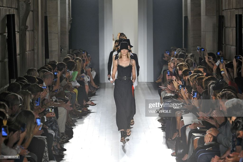 Models walk the runway at the Victoria Beckham Spring Summer 2013 fashion show during New York Fashion Week on September 9, 2012 in New York, United States.