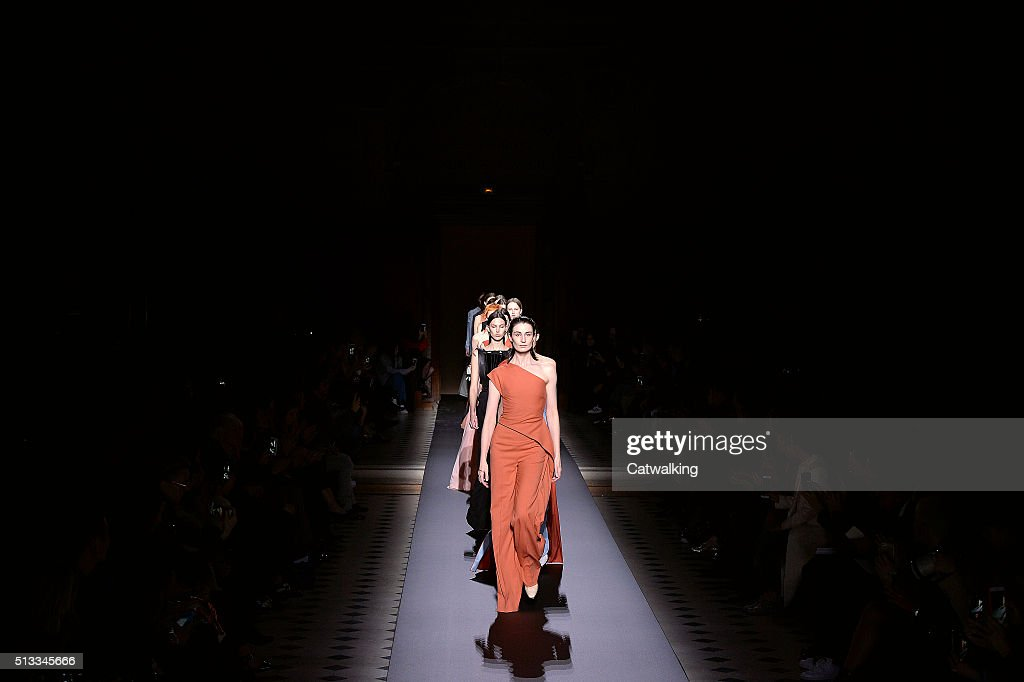 Models walk the runway at the Vionnet Winter 2016 fashion show during Paris Fashion Week on March 2 2016 in Paris France