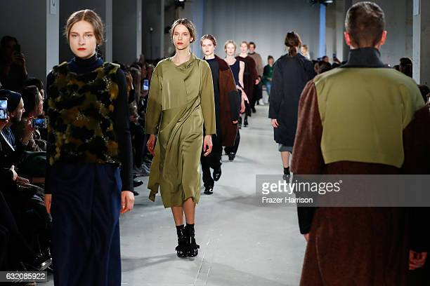 Models walk the runway at the Vladimir Karaleev show during the MercedesBenz Fashion Week Berlin A/W 2017 at Kaufhaus Jandorf on January 19 2017 in...