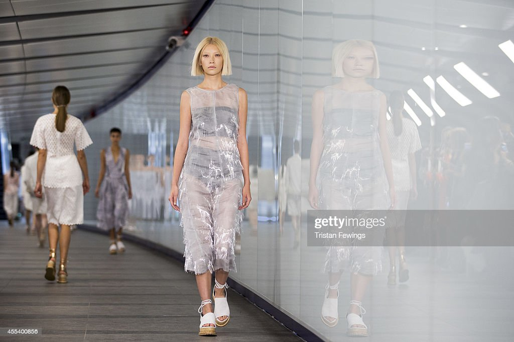 Models walk the runway at the Whistles presentation during London Fashion Week Spring Summer 2015 on September 13 2014 in London England