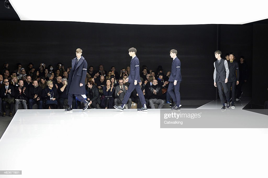 Models walk the runway at the Z Zegna Autumn Winter 2014 fashion show during Milan Menswear Fashion Week on January 14, 2014 in Milan, Italy.